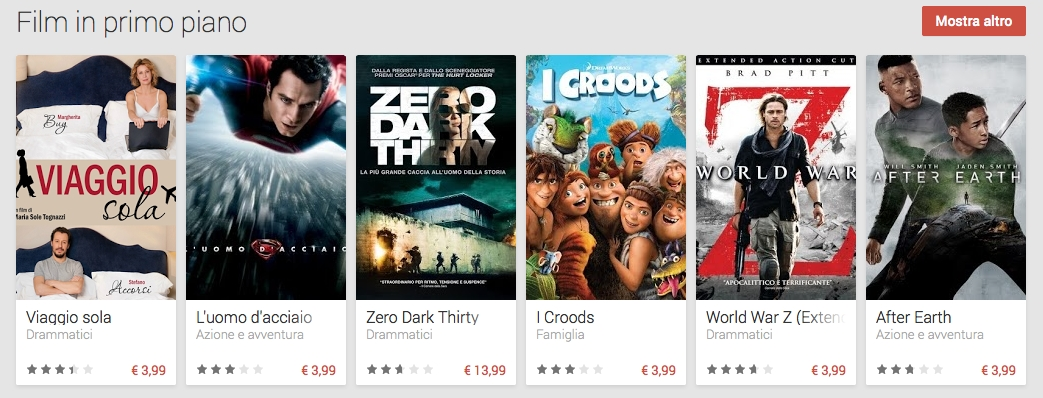 Da ieri disponibile per l'Italia Google Play Movies